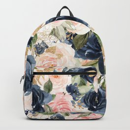 Navy Pink Watercolor Floral Pattern Nursery Flowers Backpack