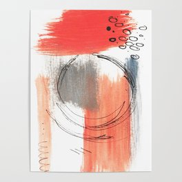 Comfort Zone - A minimalistic india ink and acrylic abstract piece in pink, black, gray, and blue Poster