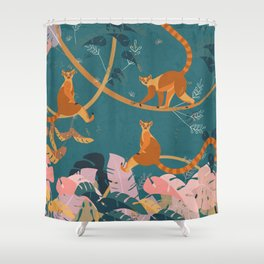 Lemurs in the jungle Shower Curtain