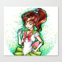 sailor jupiter Canvas Prints featuring Sailor Jupiter by Lauren Illustrations