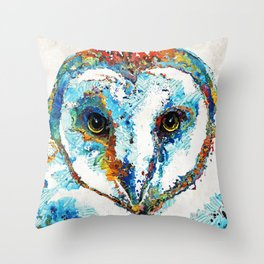 Colorful Barn Owl Art - Birds by Sharon Cummings Throw Pillow