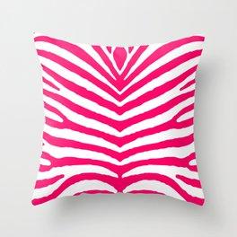 Bright Neon Pink and White Zebra Animal Safari Stripes Throw Pillow