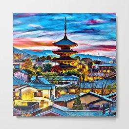 Colorful Yasaka Pagoda Digital Oil Painting Metal Print
