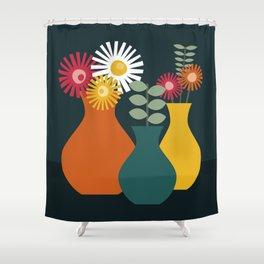 Flower Vases on Dark Background Shower Curtain