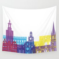 stockholm Wall Tapestries featuring Stockholm skyline pop by Paulrommer