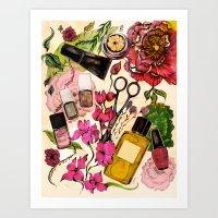 nail polish Art Prints featuring Nail polish and peonies  by Felicia Cirstea