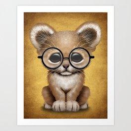 Cute Baby Lion Cub Wearing Glasses on Yellow Art Print