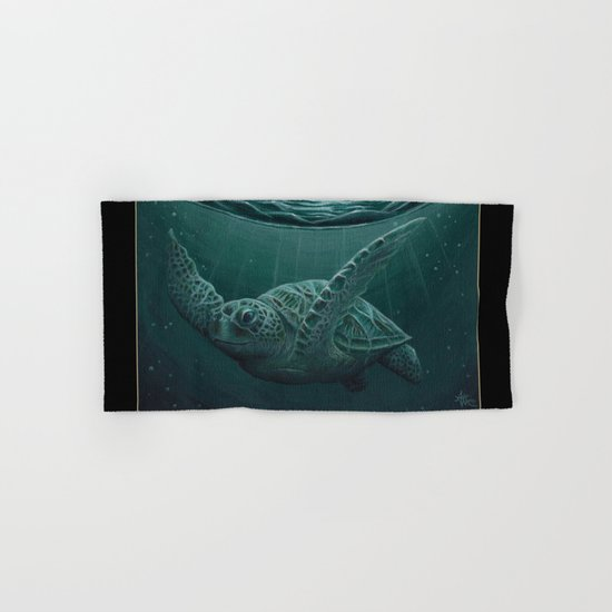 """Eclipse"" - Green Sea Turtle, Acrylic Hand & Bath Towel"