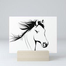 Simple Horse In Black & White Animal Art Mini Art Print