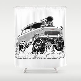 55 Gasser REV-3 SILVER Shower Curtain