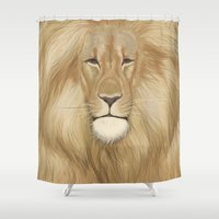 lion king Shower Curtains featuring king lion by Ewa Pacia