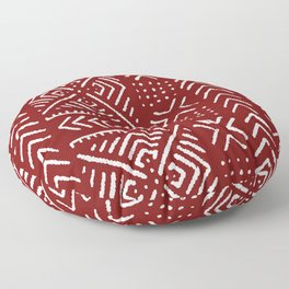 Line Mud Cloth // Maroon Floor Pillow