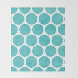 aqua polka dots Throw Blanket