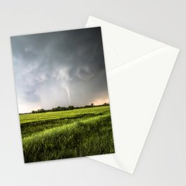 White Tornado - Twister Emerges from Rain Over Field in Kansas Stationery Cards