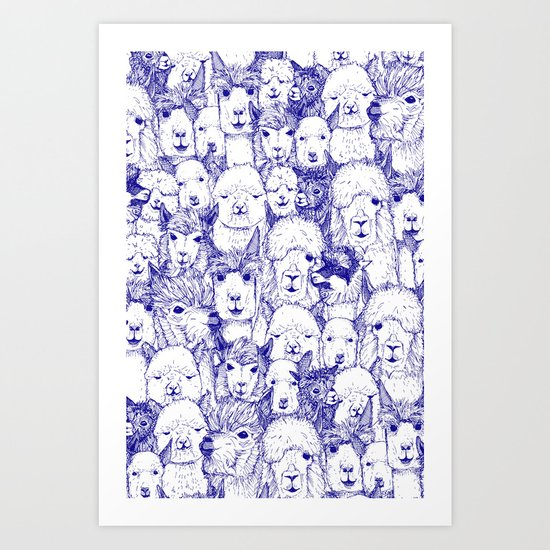 just alpacas blue white Art Print