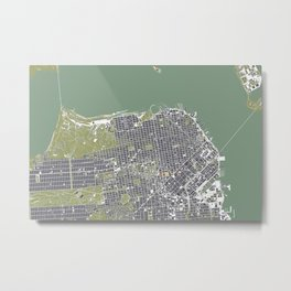 San Francisco city map engraving Metal Print