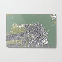 San Francisco city map engraving Metal Print