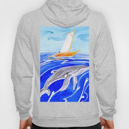 humpback whale and polynesian outrigger sail boat Hoody