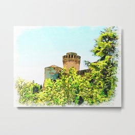 Brisighella: two towers of the castle in the trees Metal Print