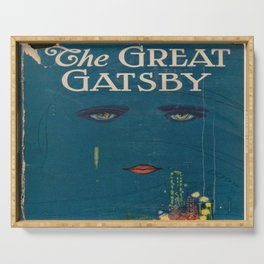 The Great Gatsby vintage book cover - Fitzgerald - muted tones Serving Tray