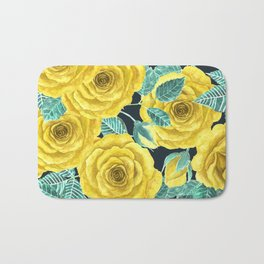 Yellow watercolor roses with leaves and buds pattern Bath Mat