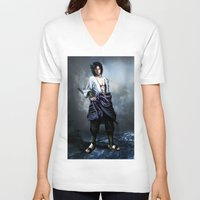 sasuke V-neck T-shirts featuring Sasuke real style portrait by Shibuz4