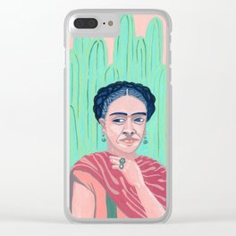 Frida Kahlo Mexican Artist gouche painting print Clear iPhone Case