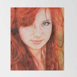 Redhead Girl Throw Blanket