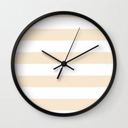 Horizontal Stripes - White and Champagne Orange Wall Clock