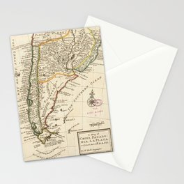 Vintage Map of Chile and Argentina (1732) Stationery Cards