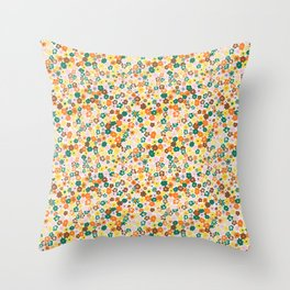 Ditsy Daisy Meadow in 60's Spring Throw Pillow