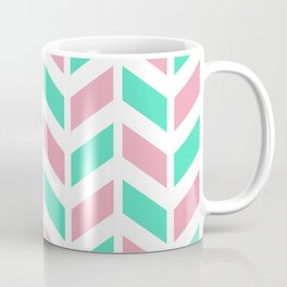 Menthol green, pink and white chevron pattern Coffee Mug