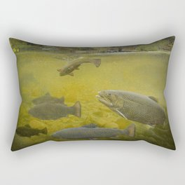 Brown Trout Feeding in a Stream Rectangular Pillow