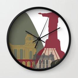 Rio de Janeiro skyline poster Wall Clock