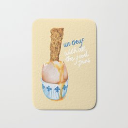 Un Oeuf With All The Food Puns Bath Mat