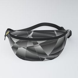 Exclusive deep mosaic diagonal pattern of chaotic black and white fragments of glass, metal, glare. Fanny Pack