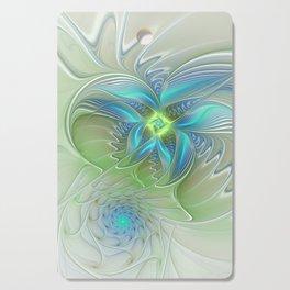 Flying Away, Abstract Shining Fractal Art Cutting Board