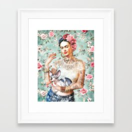 Frida's Exotic Cat Framed Art Print
