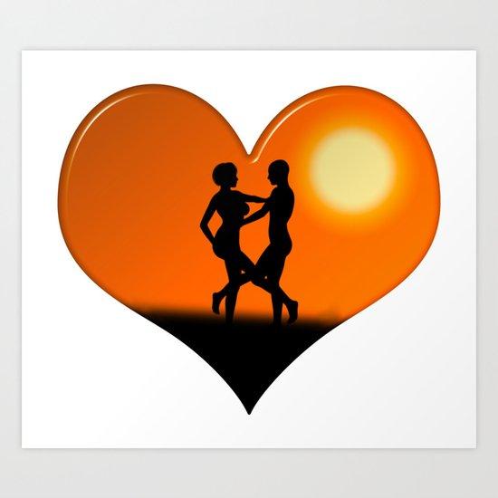 Sunset Dancing Couple Love Heart Art Print