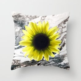 Marble and Sun Flower Throw Pillow