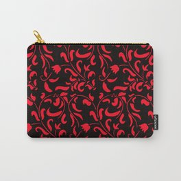 Red and black floral pattern Carry-All Pouch