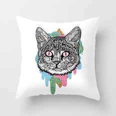 DRIPPY CAT Throw Pillow