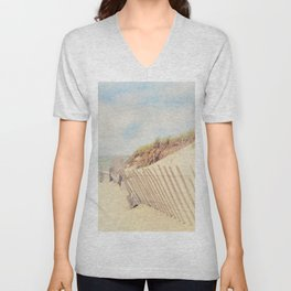 Sand Fence to the Beach Unisex V-Neck