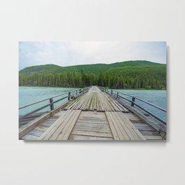 Wooden bridge across mountain stream. Altai Republic, Russia. Metal Print