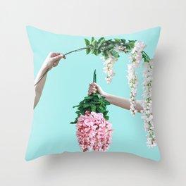 1992 Floral Episodes (Aqua) Throw Pillow