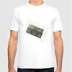 CAMERA White Mens Fitted Tee MEDIUM