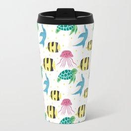 Colorful pink yellow black fish dolphin turtle nautical pattern Travel Mug