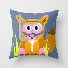 Pink Snorkel Fox Throw Pillow