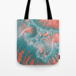 Abstract Coral Reef Living Coral Pastel Teal Blue Texture Spiral Swirl Pattern Fractal Fine Art Tote Bag