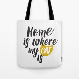 Home is Where My Cat Is (On White) Tote Bag